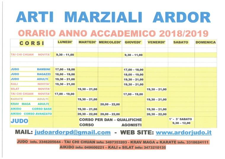 ORARI 2019 A.M. ARDOR